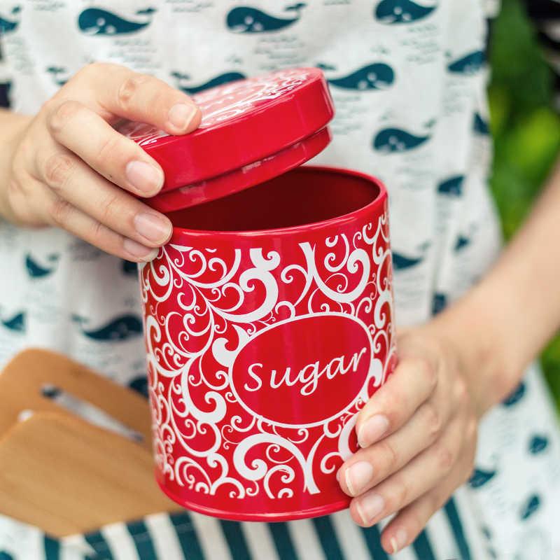 1 قطعة براد شاي إبريق قهوة السكر المحمولة السفر صفيح ختم الشاي العلبة المعدنية Moistureproof مقاوم للماء جميل الإبداع المنزلية