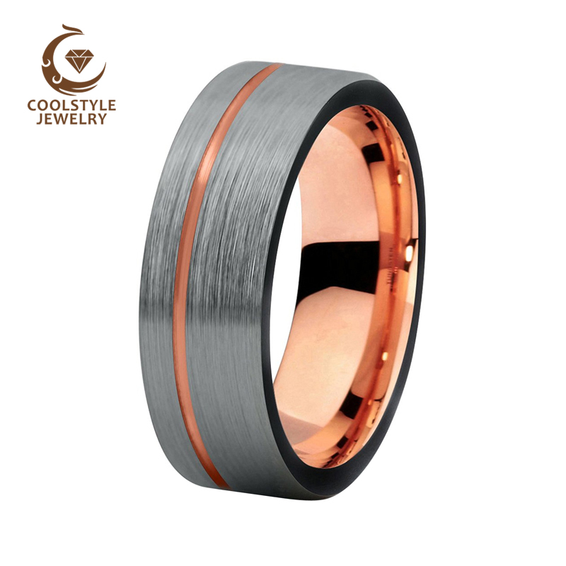 8mm Black Tungsten Carbide Ring Silver Brushed Top Offset Line Rose Gold Color Tungsten Wedding Band Jewelry ring