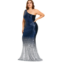 LANGSTAR Plus Size Elegant Evening Sequin Long Maxi Mermaid Party Dress Formal One Shoulder Sleeveless Prom Sexy Dress Robe