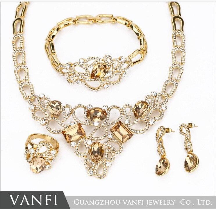Or couleur Champagne/rose verre pierre bijoux ensemble pour femme complet strass boucles d'oreilles collier ensemble de mariage bijoux de mariée