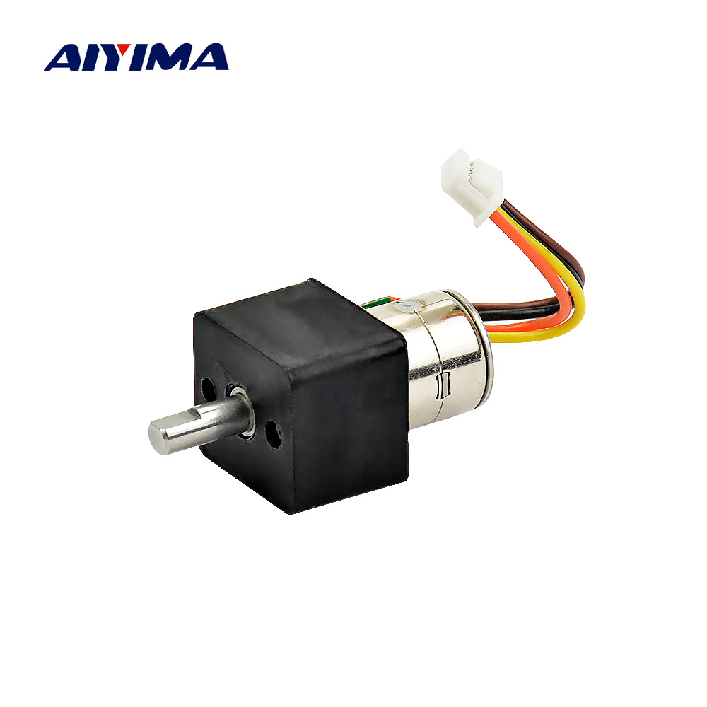 Aiyima Micro Stepper Motor 2 Phase 4 Wire 1:63 10mm Metal Gear Deceleration Stepper Motors Gear Reduction Moteur aiyima 1pcs stepper motors 1a5 1v39 2 phase 4 wire 1 8 degree two phase four wire micro step motor second hand moteur