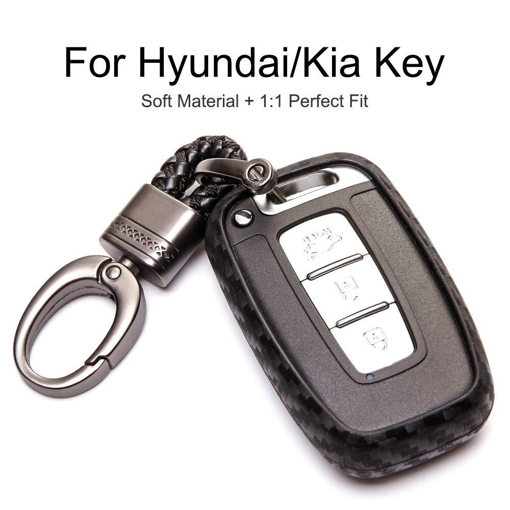 Чехол для ключа автомобиля чехол для Hyundai Sonata IX35 Tucson для KIA Sportage K2 K5 Sorento Cerato Forte Узор из углеродного волокна Чехол для ключа сумка chaveiros da shell antigo