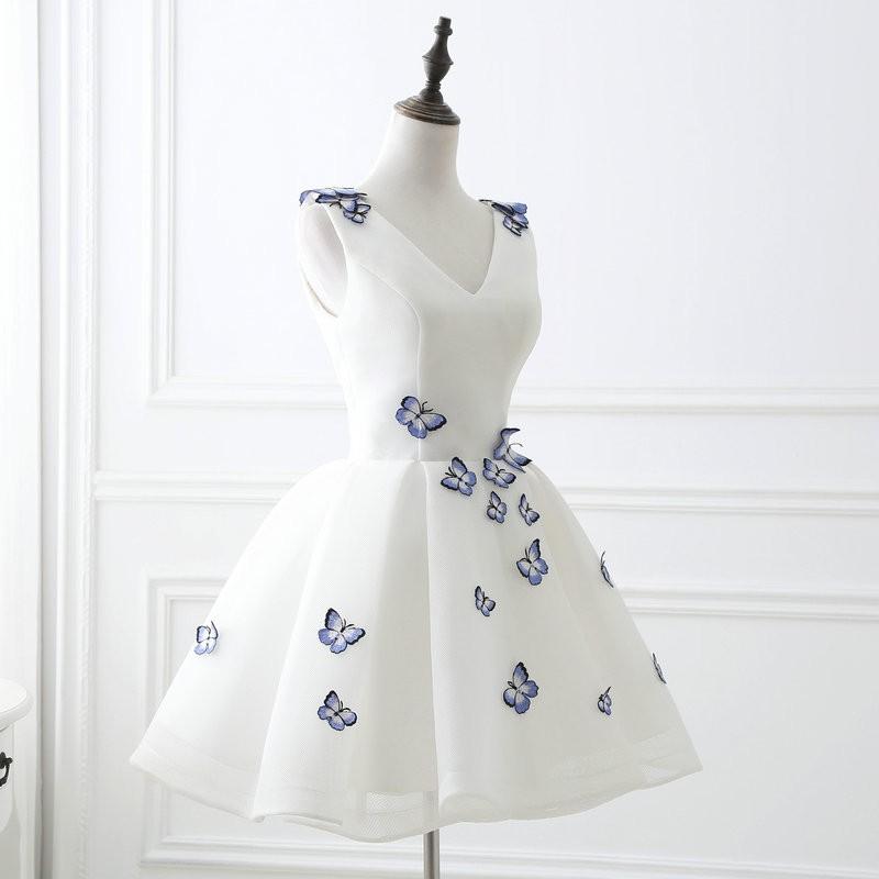 Lamya 2017 White Embroidery Butterfly V Neck Short ALine Prom Dresses Cheap Elegant Prom Dress Vestido De Festa In Stock EV2978 (2)