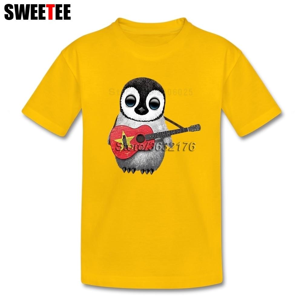 Детские Пингвин играет вьетнамский флаг Гитары футболки сын из 100% хлопка для мальчиков и девочек короткий рукав Футболка для малышей От 4 до... ...