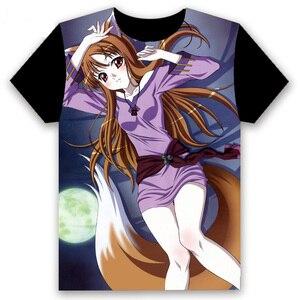 Image 3 - Anime Áo Thun Gia Vị Và Sói Holo Cosplay Nữ Tay Ngắn Nam Nữ Đen Tee Thường Ngày Mùa Hè Otaku Áo Sơ Mi
