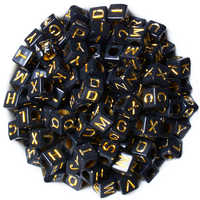 200PCs Random Mixed Black Acrylic Gold Color Letter Alphabet Beads Cube Beads For Jewelry Making DIY Bracelet & Necklace 6x6mm