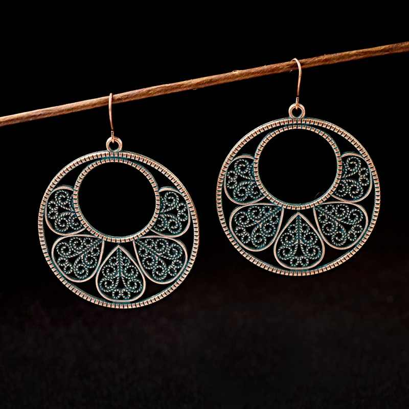 2019 Vintage Women Big Round Jhumka Earrings Indian Jewelry Bohemian Green Leaf Alloy Dangle Earrings Gypsy Hippie Oorbellen