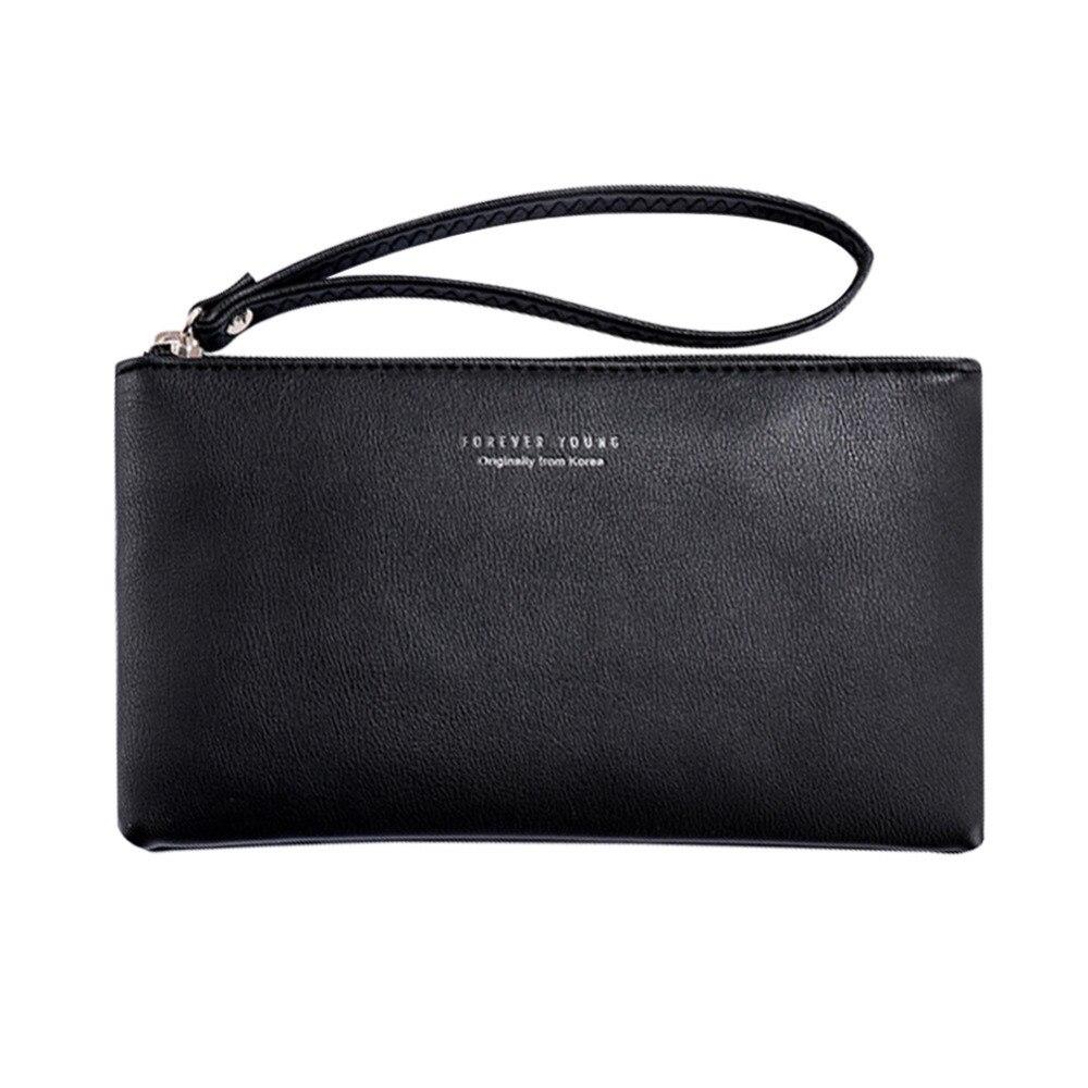 Fashion women's clutches PU Leather Zipper Wallet Simple handbags for women 2018 Waterproof clutch female women leather handbags(China)