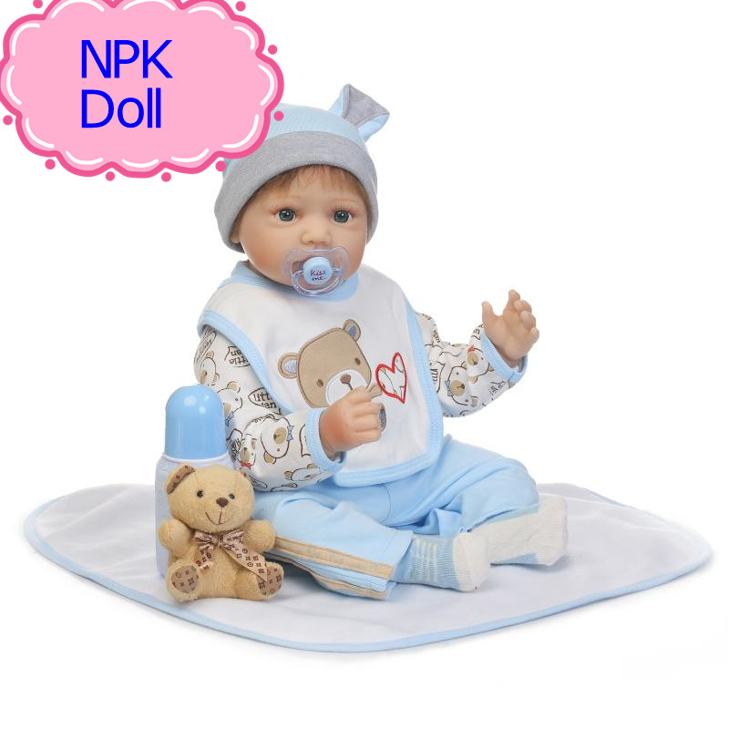 NPK 22 Inch Reborn Soft Silicone Babies Doll Toy Lifelike Reborn Baby Doll With Pacifier Wholesale Good Price Children Playmate soild brass white painted bathroom tall basin faucet single handle dual control hot and cold water tap torneiras