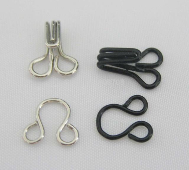 metal hooks. hk002 garment hooks 50 sets black+50 silver metal for clothes accessories