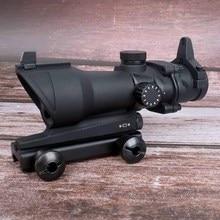 ハント視力狩猟スコープ ACOG 1X32 タクティカルレッドグリーンドットサイト照明光学ライフルスコープ 20 ミリメートルレールガンのため