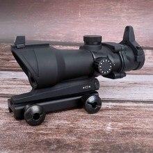 Polowanie celownik myśliwski ACOG 1X32 taktyczna czerwona zielona kropka celownik podświetlany optyczny luneta celownicza z 20mm szyną do pistoletu Airsoft