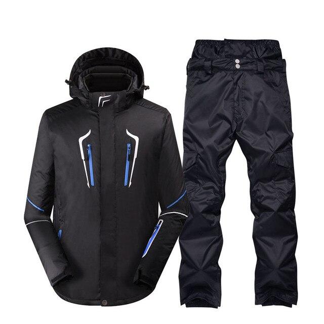 b23a8df7ad54 Plus size Black Pure color Men Snow Suit outdoor wear snowboarding ...