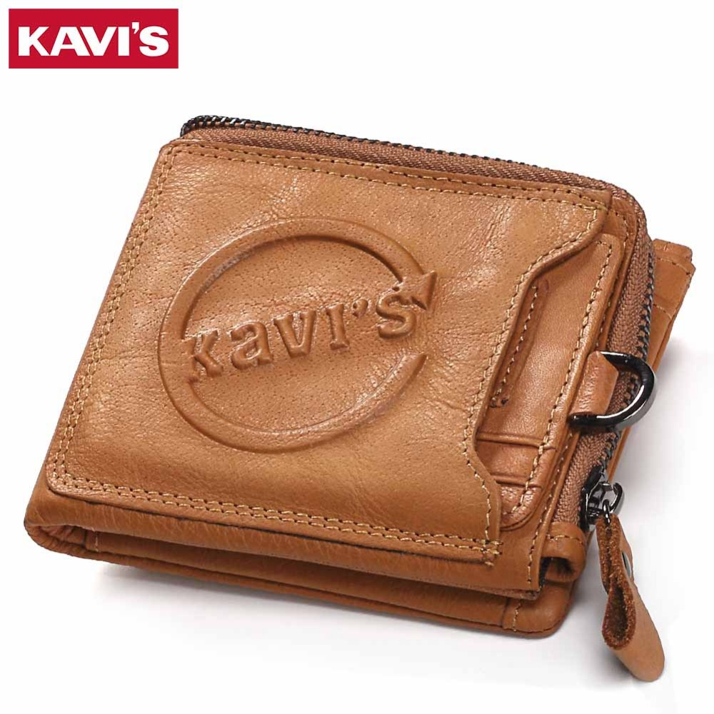 KAVIS Genuine Leather Wallet Men Coin Purse Walet Portomonee Mini PORTFOLIO Rfid Male Cuzdan Perse Pocket Fashion Money Bag for kavis genuine leather wallet men mini walet pocket coin purse portomonee small slim portfolio male perse rfid fashion vallet bag