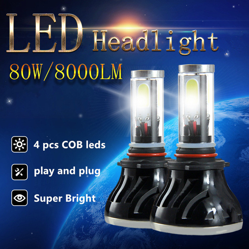 Led Car Auto Headlight H7 80W 8000LM 4 COB Led All In One White Bulb for Automotives Headlight Fog lamp DRL with Fan Play & Plug