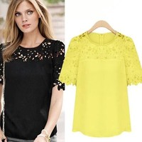 2014 Summer New Big 4xl Plus Size Tops For Women Short Sleeve Chiffon Lace Black Yellow