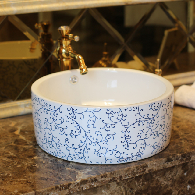 Waschbecken Blau europa vintage style lavobo china kunst keramik waschbecken