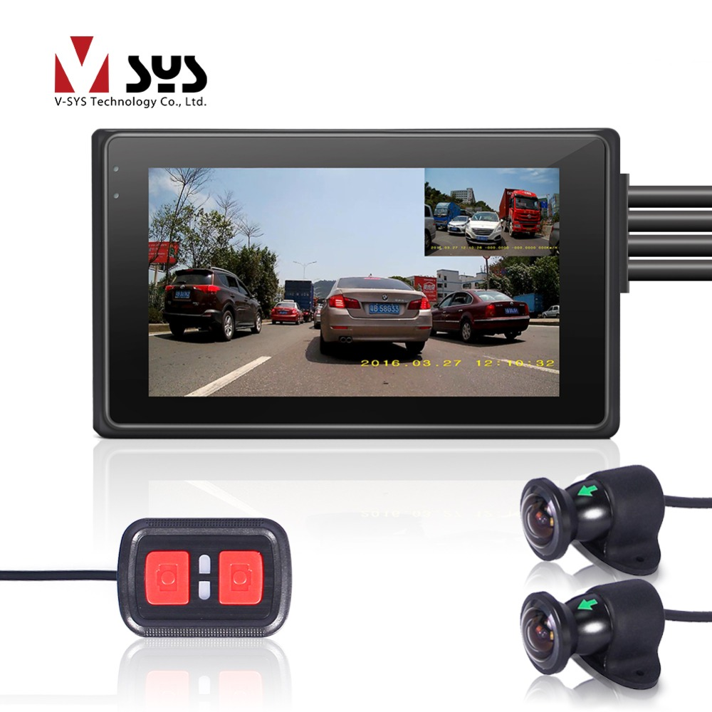 VSYS M2F WiFi Dual FHD 1080P Motorcycle Dash Cam DVR with 170 Degree Wide Angle Front & Rear View Motorcycle Camera Recorder GPS цена