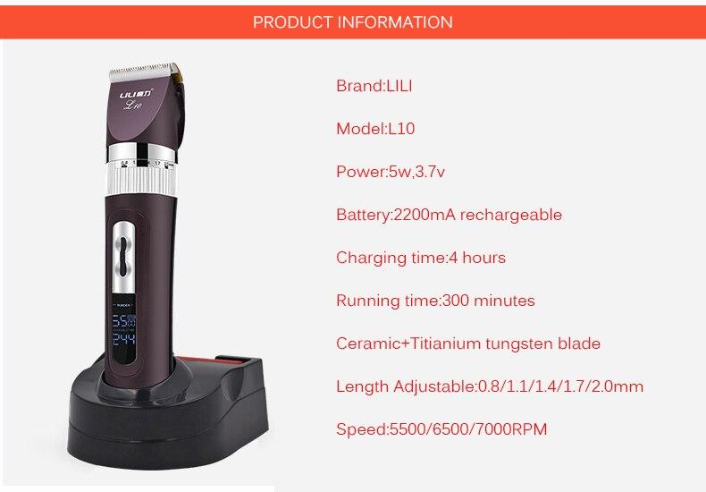 2018 nouveauté rechargeable professionnel tondeuses à cheveux Titianium Cutter Lithium batterie tondeuse 100-240 V Lcd affichage - 3