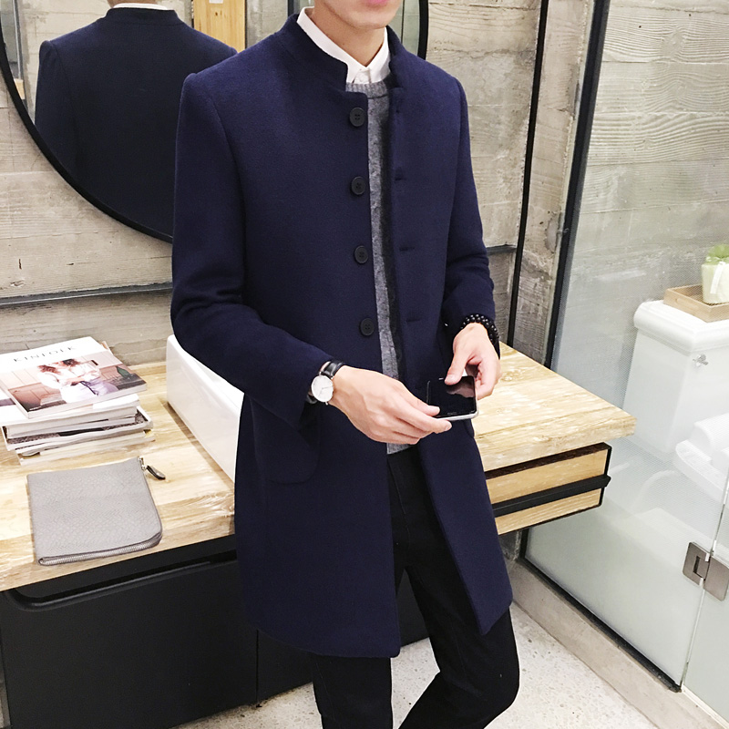 2019 New Mens Fashion Boutique Solid Color High-end Stand Collar Woolen Coats / Male Casual Slim Woolen Windbreaker Jacket Coats(China)
