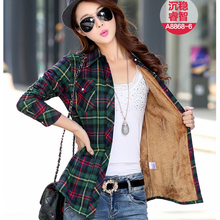 Thicken Velvet Autumn Plaid Shirt Women Tops 2016 New Winter Blouses Long Sleeve Casual Women Blouse Cotton Slim Shirts