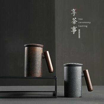검은 도자기 세라믹 컵 크리 에이 티브 개성 낯 짝 필터 사무실 세라믹 차 컵