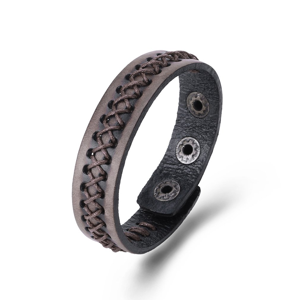 Punk Style Leather Bracelet Men Braided Cowhide Bracelet Adjustable for Women Men Vintage Fashion Jewelry