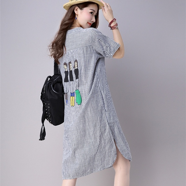 01cbfff13a3 Summer Loose Waist Linen Cotton Dress with Vertical Stripes O Neck Short  Sleeve Plus Size Dresses for Women 3XL