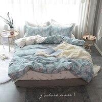 パパ&美馬フラミンゴと葉プリント布団カバーセットプリンセススタイル100%綿女王ツインサイズ掛け布団カバーフラットシート枕