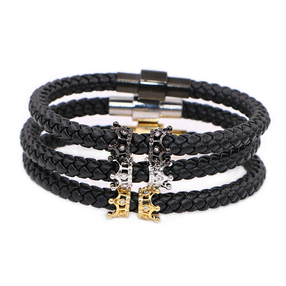 Genuine Leather Crown Charms Stainless Steel Magnet Bracelets for Man Women Jewelry Best Friends Gift pulseira
