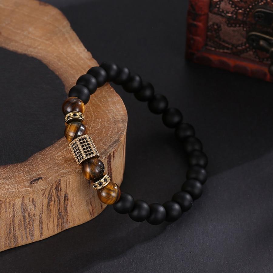 HOBBORN Trendy Men Wrist Bracelet 8mm Natural Tiger Eye Lava Stone Mix Handmade Strand Elasticity Healing Reiki Unisex Bracelets in Charm Bracelets from Jewelry Accessories