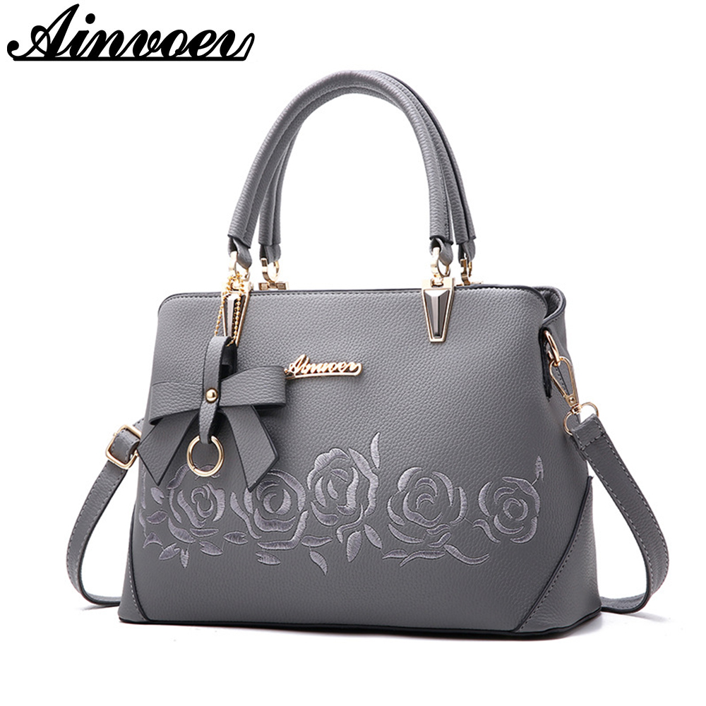 Ainvoev 2018 Europe fashion trend bag women handbag pu leather shoulder bag printing flowers crossbody bag female package a1834