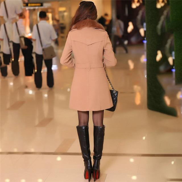 #Women Big Fur Collar #Jackets Winter Long Woolen Blend #Coats Outerwear Cotton Blend Jacket #fashion #boygrl 2