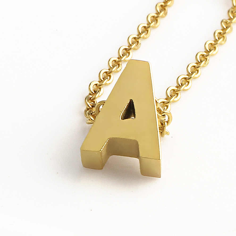F4U N147 DIY Customized A-Z Letters Necklaces Stainless Steel Letter & Heart Pendants Necklaces Initial Name Necklaces For Gifts