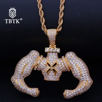TBTK Full of Zircon Pendent Muscular Man Shape Gold Creative Necklace Men's HipHop Jewelry Silver Necklace Street Style Jewelry