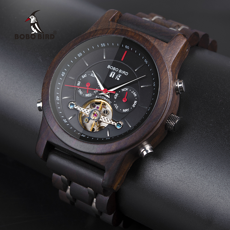 BOBO BIRD Automatic font b Mechanical b font Watches Men Wooden Luxury Watch with Calendar Display