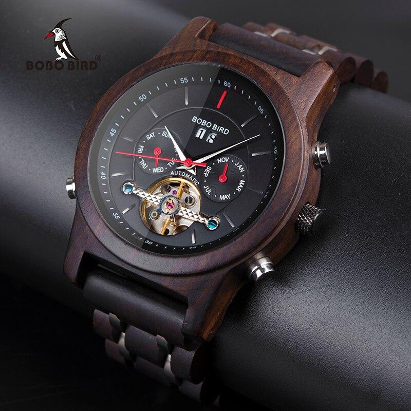 Bobo pássaro esqueleto automático relógios mecânicos homem de madeira relógio de luxo auto vento masculino