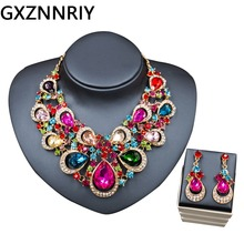 Crystal Flower Bridal Wedding Jewelry Sets for Women Rhinestone Gold Necklace and Earrings Set Party Jewellery Sets Gifts