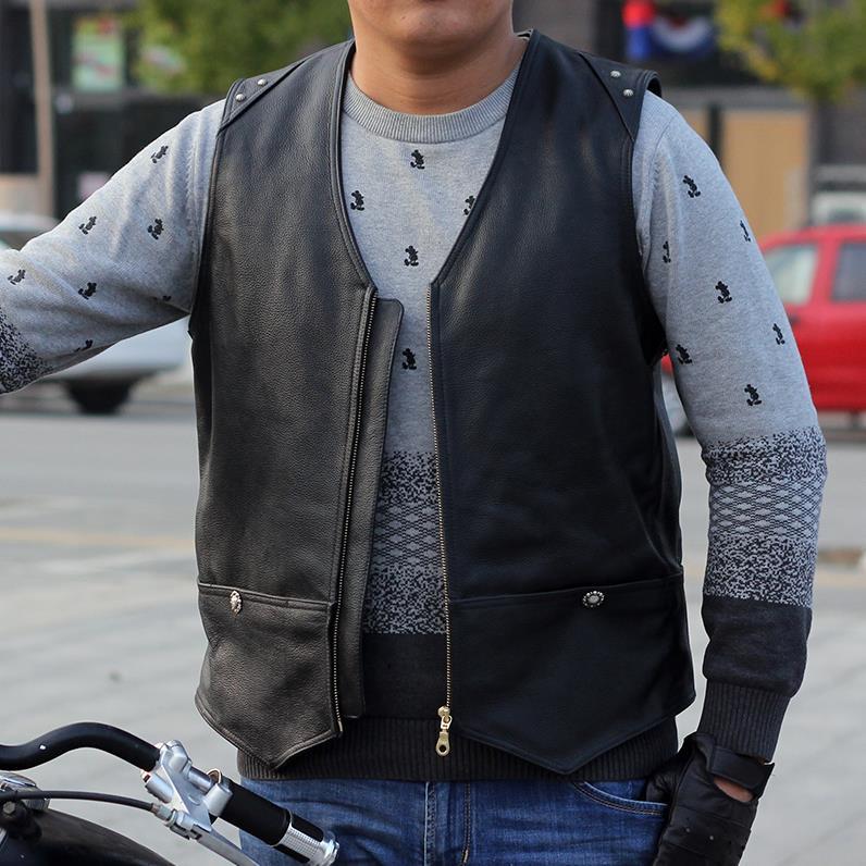 a56b52d184676 BONJEAN homme en cuir épais Moto Biker gilet fait main Moto Club gilet en cuir  de