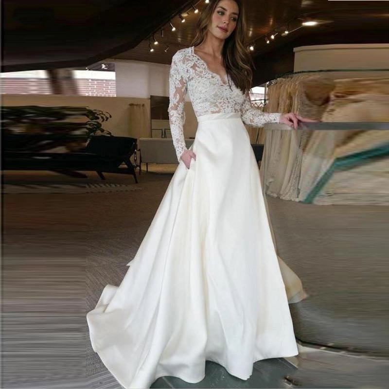 2019 Long Sleeve Wedding Dress V Neck A Line Appliques Lace Top Satin Skirt Wedding Gown