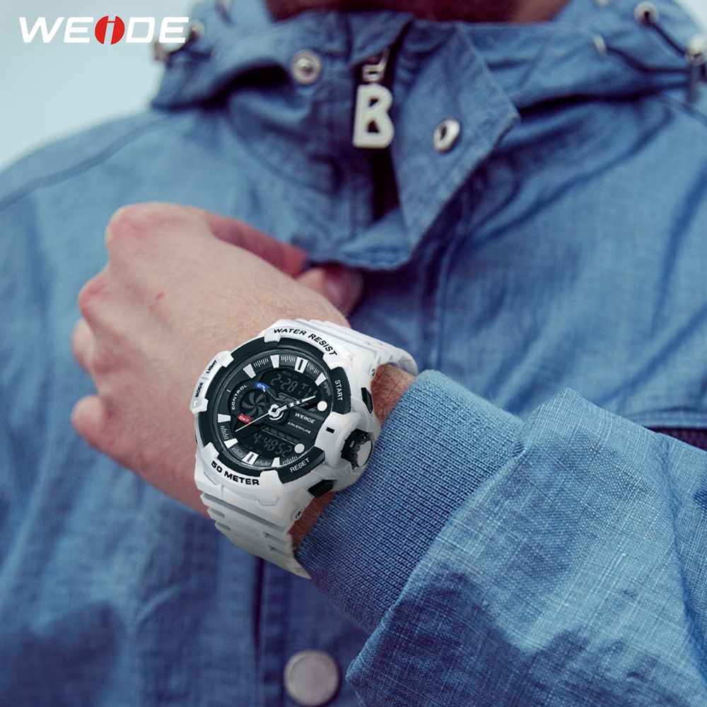 WEIDE Mens Electronic 50 Meters Waterproof Clock Sports Alarm Date Analog Digital Military Army Quartz PU Strap Band Wrist WatchWEIDE Mens Electronic 50 Meters Waterproof Clock Sports Alarm Date Analog Digital Military Army Quartz PU Strap Band Wrist Watch
