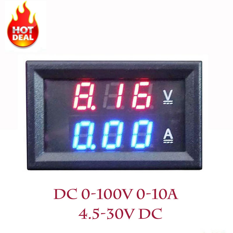 LED Amp Dual Digital Volt Meter Gauge 0.28'' DC 0-100V 0-10A Digital Voltmeter Ammeter Tester voltimetro LED Dual Display Amp dc 0 100v 1000a voltage meter current gauge digital voltmeter ammeter amp volt panel meter