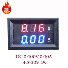 """LED Amp Dual Digital Volt Meter Gauge 0.28"""" DC 0-100V 0-10A Digital Voltmeter Ammeter Tester voltimetro LED Dual Display Amp"""