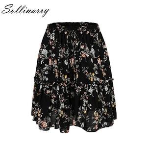 Image 4 - Sollinarry פרחוני שיפון מקרית חצאיות נשים סתיו גבוה המותניים אופנה לפרוע ילדה חורף חצאית 2019 חוף שחור נשי חצאית