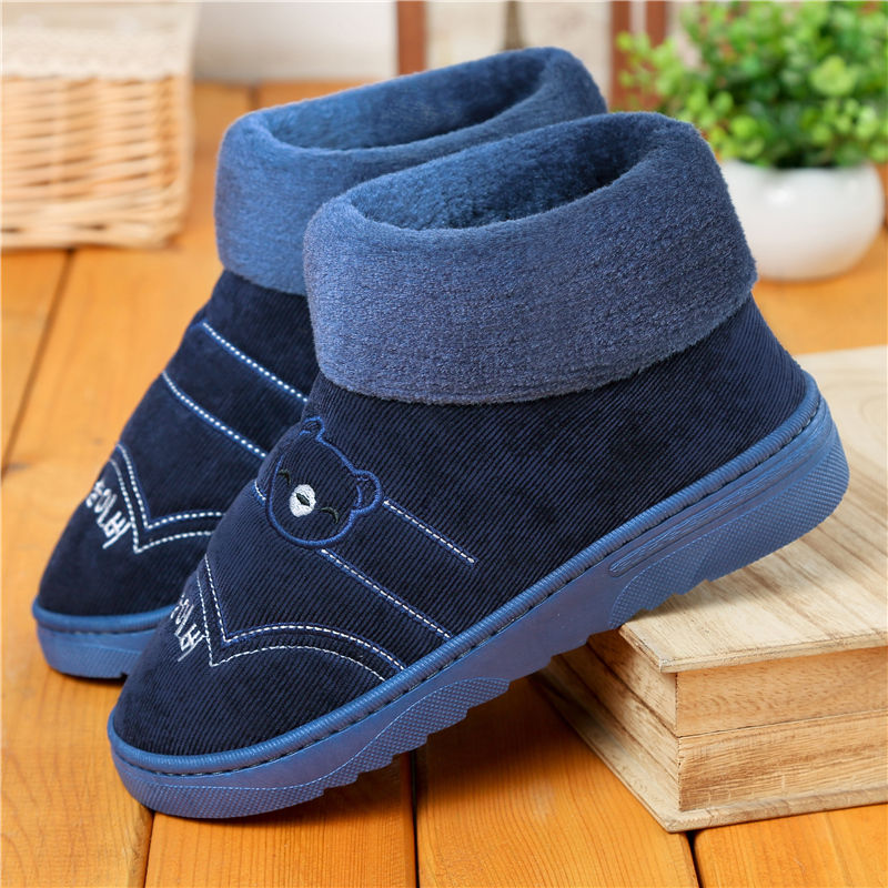 Plus Size 40-47 Plush Slipper Men Indoors Shoes Winter 2019 Fashion Home Slippers Solid Blue Male Slippers Warm Men's Fur Shoes