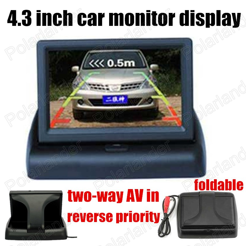 4.3 inch Foldable TFT Color LCD car Monitor display for Camera DVD supports two ways of video input reverse priority
