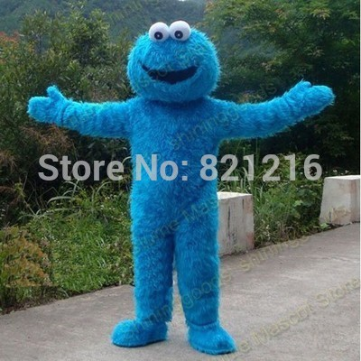 Adults Sesame Street Blue Cookie Monster And Elmo Mascot Costume Sales High Auality Long Fur Elmo Mascot Costume Free Shipping