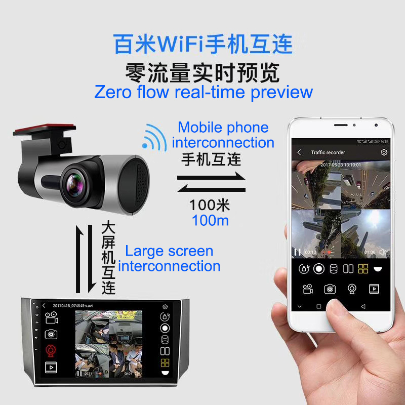 360 Degrees Surround View Starlight Night Vision G sensor Parking Monitor WIFI Video Recorder Car DVR Camera APP for Android/IOS image