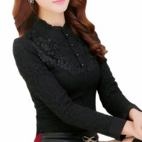 Women Lace Blouses 2017 Fashion Autumn Winter Blouse Crochet Bluas Feminina Black Long Sleeve Basic Tops