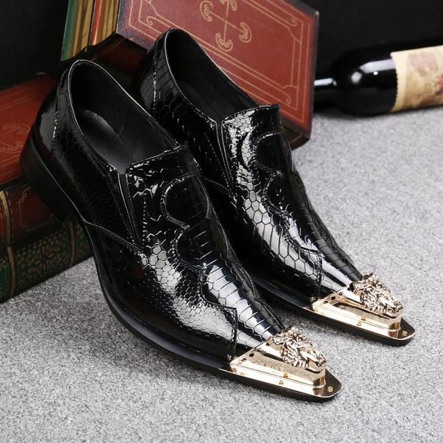 4c3c8ab26c0e italian shoes men oxford iron toe classic mens patent leather black shoes  spiked loafers gold pointy toe dress shoes slipon